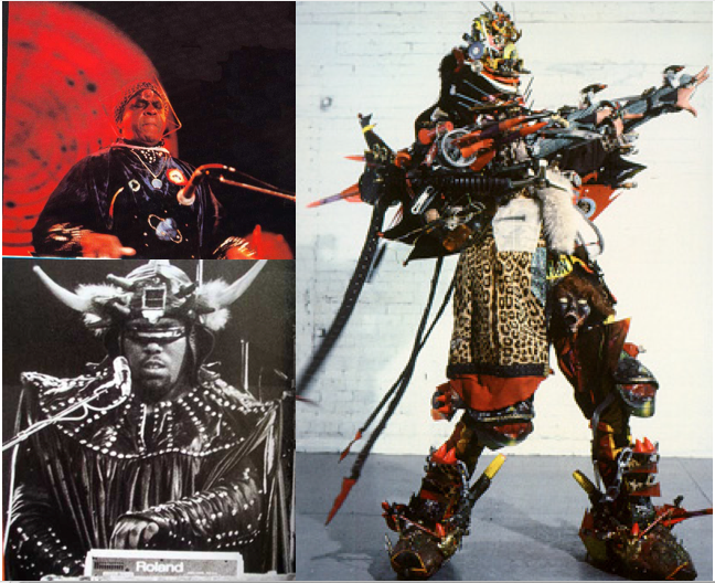 Clockwise from top left: Sun Ra, Rammellzee and Afrikaa Bambaataa
